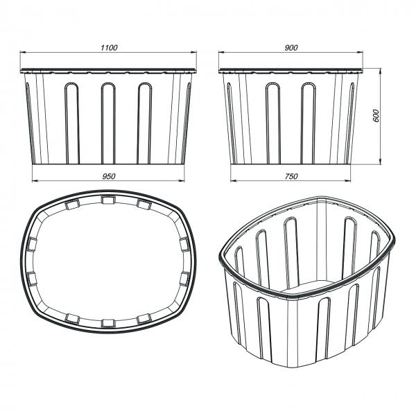 Универсальные открытые ванны для использования в хозяйстве для бытовых нужд по самой низкой цене в Москве.качественный полиэтилен-не впитывает запахи.