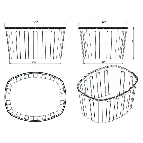 Универсальная пластиковая открытая ванна для использования в хозяйстве или в пищевой промыщленности по самой низкой цене в москве.