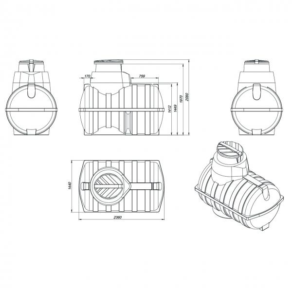 Подземная  пластиковая ёмкость объёмом три тонны(три тысячи литров),которую очень удобно вкапать в землю на даче или в загародном доме,по с амой низкой цене в Москве.