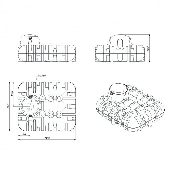 Пластиковая подземная  ёмкость объёмом три тысячи литров(три тонны) идеально подойдёт для канализации на дачу или загородный дом по самой низкой цене в Москве.